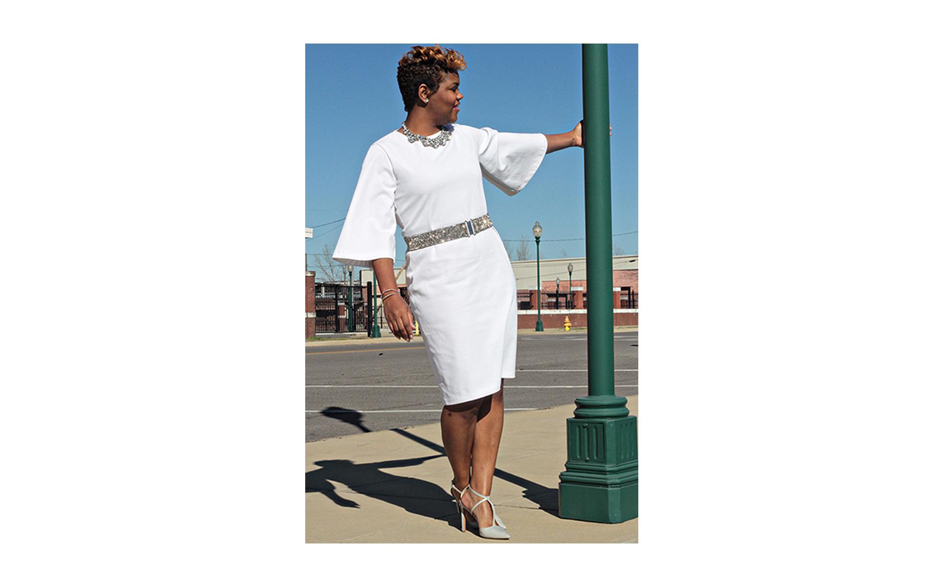 white dress slider